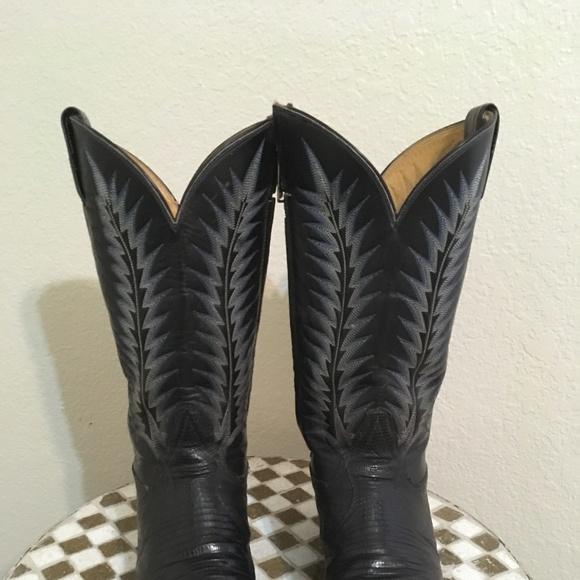 f54705e4208 TONY LAMA BLACK LIZARD WESTERN COWBOY BOOTS 10.5 D
